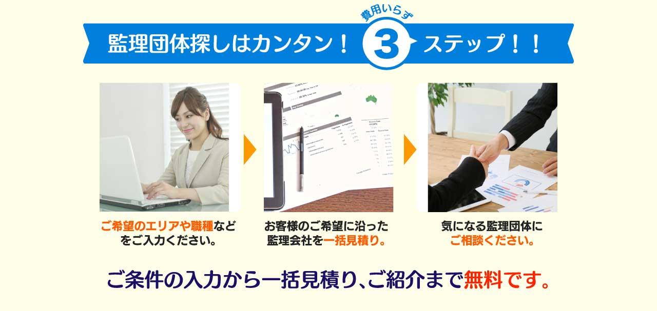 監理団体の比較お探しは簡単3ステップ